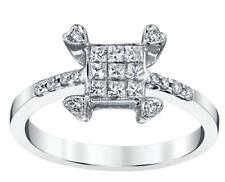 Natural Princess Diamond Ring 0.55ct White 18k Gold Dainty Heart