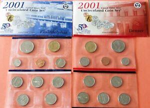 US Uncirculated 2001 PD US Mint set #U31-5-1 State Quarters, Sacagawea Dollars