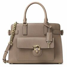 NWT MICHAEL KORS EMMA Saffiano Leather E/W Satchel Crossbody Bag DARK DUNE $398