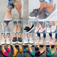 Womens Moccasin Suede Canvas Slip On Flat Loafers Casual Ballerina Ballet Shoes