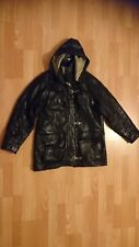 VINTAGE VERY RARE FACTORY PARIS SIZE 2 HOODED LEATHER JACKET VERY BEAUTIFUL