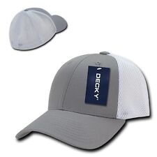 Gray White Flex Low Crown Cotton Mesh Grey Baseball Ball Golf Fit Fitted Hat Cap