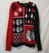 Ugly Christmas Sweater NHL Chicago Blackhawks Crewneck XL Unisex Hockey Red