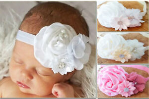 Ivory White Satin Flower Rhinestone Baby Hair Band Baptism Wedding Christening