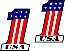 "2 - 4"" x 2.6"" USA #1 Decal SET American Flag Number One 1 United States Sticker"