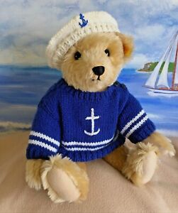 """++TEDDY CLOTHES++ new hand knitted sailor jumper & beret to suit a 17"""" bear"""