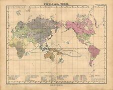 Carta geografica antica MAPPAMONDO Popoli della TERRA 1897 Old antique map