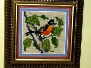 OLD VINTAGE Bird Red Orange Cardinal Limb Tree Leaves Crewel NEEDLEPOINT WOOL