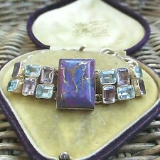 LOVELY STERLING SILVER PURPLE MOHAVE TURQUOISE AMETHYST & BLUE TOPAZ BRACELET