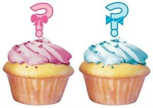 36 Pink & Blue Gender Reveal Question Mark Baby Shower Cupcake Toppers = 3 packs