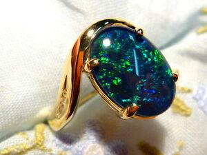 Opal Ring Ladies 14ct Yellow Gold & Diamond 13 x 9mm Oval Shape Triplet. #90558.