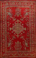 Antique Geometric Vegetable Dye Oushak Turkish Area Rug Hand-Knotted Wool 10x14