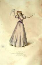 La Petite Ville Mlle Clément Costume Théâtre Jean Racine gravure XIXème