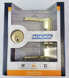 = Schlage Security Set FB50 VFLA505 605 Flair Level Keyed One Side Bright Brass