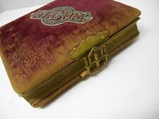 ANTIQUE PHOTO ALBUM WORKING BRASS CLASP VICTORIAN 20 PAGE HOLDS 48 PHOTOGRAPHS