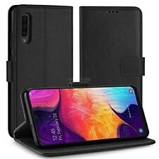 COVER per Samsung Galaxy A30s CUSTODIA PORTAFOGLIO in PELLE Nero Leather Case