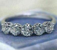 Engagement Ring 14K White Gold 1.82Ct Round Diamond 5 Stone Delicate