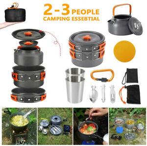 18tlg Set Alu Outdoor Kochgeschirr Topfe Bratpfanne Teekanne Camping-Trekking DE