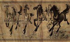 Djibouti 2019 art painting Eight fine horses by Xu Beihong wood s/s