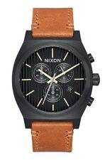New Nixon Timeteller Chrono Black Dial Leather Strap Men's Watch A11642664
