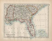 1898 VICTORIAN MAP ~ UNITED STATES OF AMERICA ~ SOUTH EAST FLORIDA GEORGIA etc