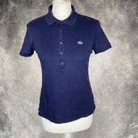 LACOSTE Dark Blue Short Sleeve Polo Shirt Size 40 UK 12 Womens