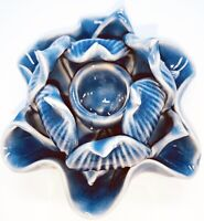 "Vintage Siam Celedon Wood Glazed Lotus  Flower Candle Stick Holder Blue 3""H 4""W"