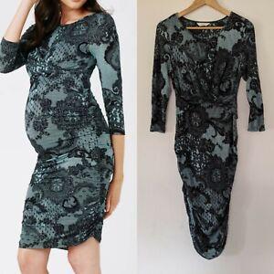 Ripe Maternity sz S/ M Teal & Black Lace Print Stretch Dress AS NEW