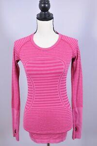 Lululemon Run Swiftly LS Shirt Pink Stripe Women's 4
