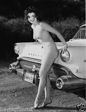 1957s Nude posing against front of 57 Buick 8 x 10 Photograph
