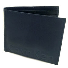 Calvin Klein Navy & Black Leather Bifold Logo Wallet - Gift Boxed