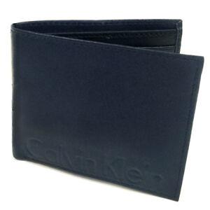CALVIN KLEIN Navy Blue Leather Logo Bifold Logo Wallet Gift Boxed