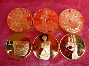 6 Noble Bronze - Médailles__Bronze 24 Carat Plaqué Or __ Grecque Antique__480g