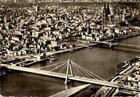 KÖLN am Rhein um 1960 Luftbild Luftaufnahme mit Severingsbrücke und Dom, s/w AK