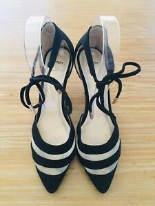 SEXY Womens Size 8 (Approx) High Heels Tie Up Laces Ankle Straps Shoes EUC