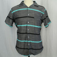 Zoo York Short Sleeve Stripe Gray Casual Shirt 100% Cotton Button Men Sz L EUC
