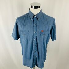 Ely Plains Pearl Snap Striped Button Front Western Cowboy Blue Shirt Mens XL