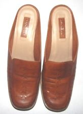 Danelle Womens Brown Slip-On Block Heel Leather Shoes Size 10M