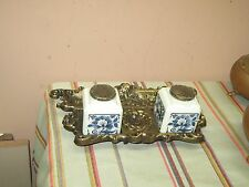 Ornate Solid Brass Cast Double Inkwell with Pen Rest & Delft Blauw Ink Bottles