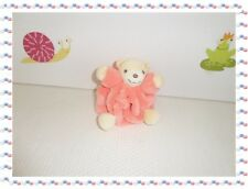 J - Mini Doudou Ours  Boule Rose Beige  Attache Sucette Collection Plume  Kaloo
