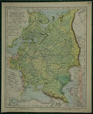 1883 LETTS MAP ~ RUSSIA IN EUROPE ALPS MOUNTAINS KUBAN STAVROPOL MINSK