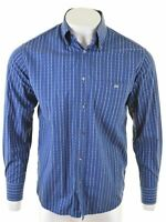 LACOSTE Mens Shirt Size 40 Medium Navy Blue Striped Cotton  AD07