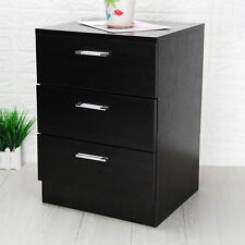 Modern Bedside Cabinet Chest Of Drawers Black 3 Drawer Metal Handles drawers