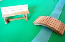 Handmade Dollhouse Miniature Cedar Wood Bench and Garden Bridge - Clear Finish