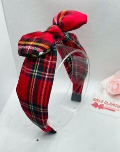 Royal Stewart Hairband Headband Hair Tie Band Bow Tie Red Tartan Burns Night