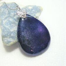 Dark Purple Dragon Vein Agate Gemstone Pendant - Handmade