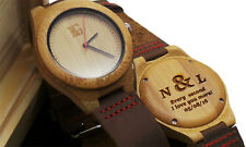 PERSONALISED Wooden Watch Leather Luxury  Unisex Gents Ladies in Wooden Case