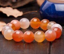 Feng Shui Orange Red Agate Gemstone Bracelet for Emotional and Energy Balance
