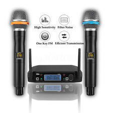 Professional UHF 2 Channel 2x Handheld Mic Wireless LCD Microfono Systerm DJ CD