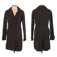 Gallery Women's Trench Coat Jacket Small Black Lined Knee Length Pockets Chic